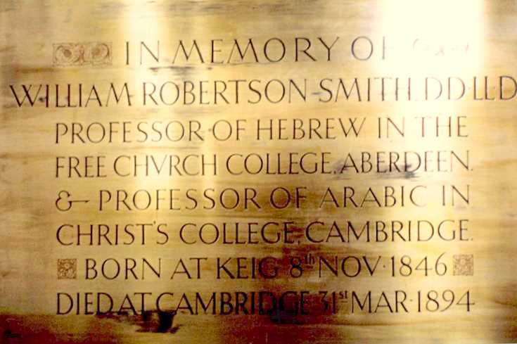 Brass plaque to William Robertson Smith