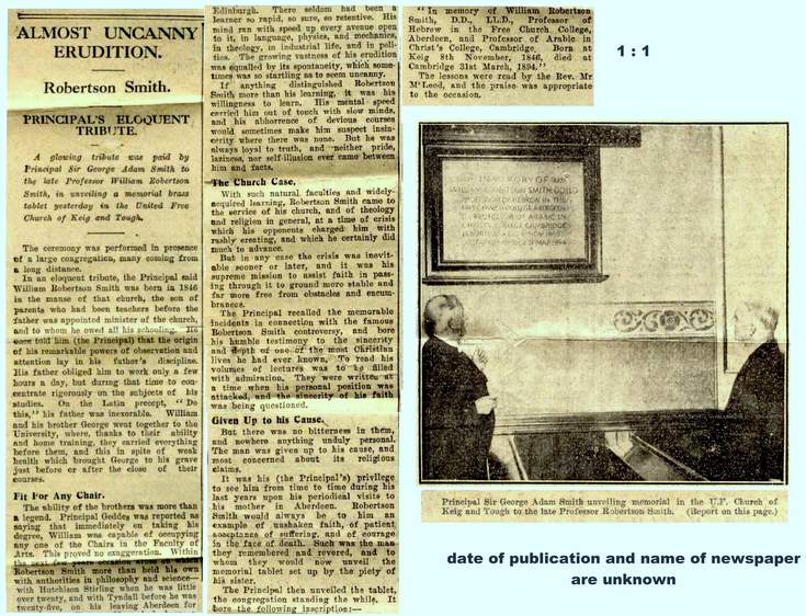 Newspaper article on unveiling of plaque to WRS