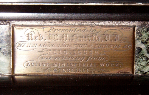 Brass plate on William P Smith's Timepiece