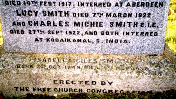 Inscription to Charles Michie Smith at Keig