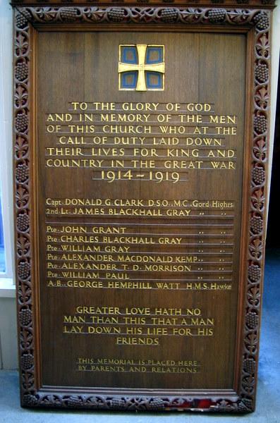 Alford Parish Church Memorial Plaque