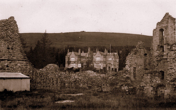 Kildrummy Hotel and Castle in foreground