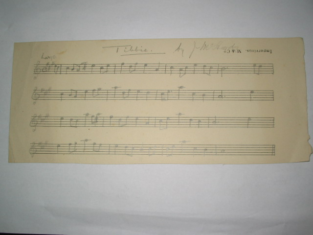 Original handwritten music score by PM J. McHardy