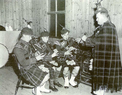 Insch Pipe Band chanter practice