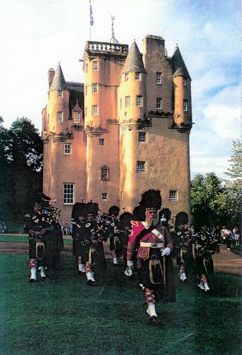 Lonach Pipe Band beating the retreat at Craigievar