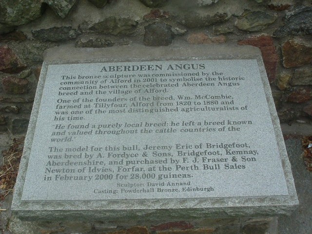 Plaque giving details of the bull.