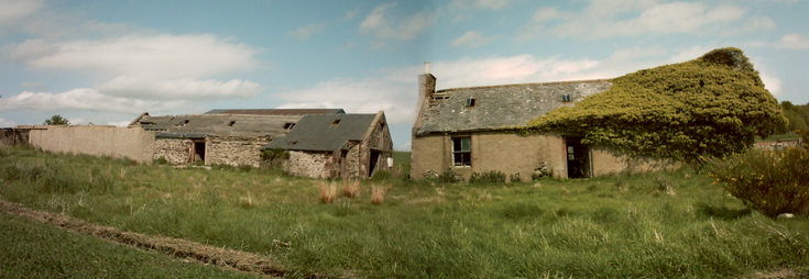 Panorama showing old croft and steading
