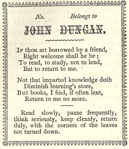 Label from a book belonging to John Duncan
