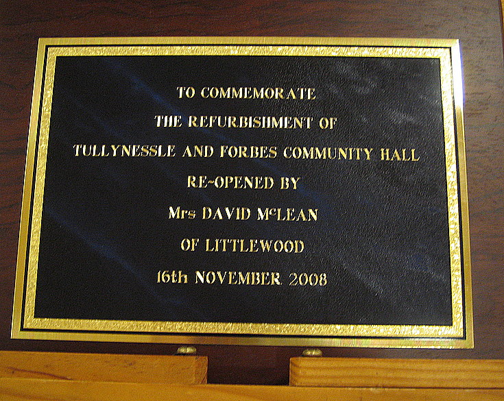 Commemorative Plaque for Hall Reopening Ceremony
