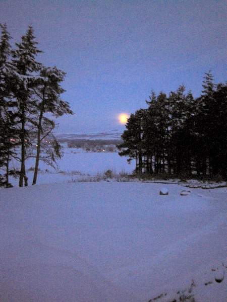 Vale of Alford in Winter with a Setting Moon