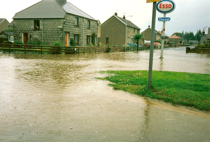 Flood at the bottom of Ashgrove, Alford