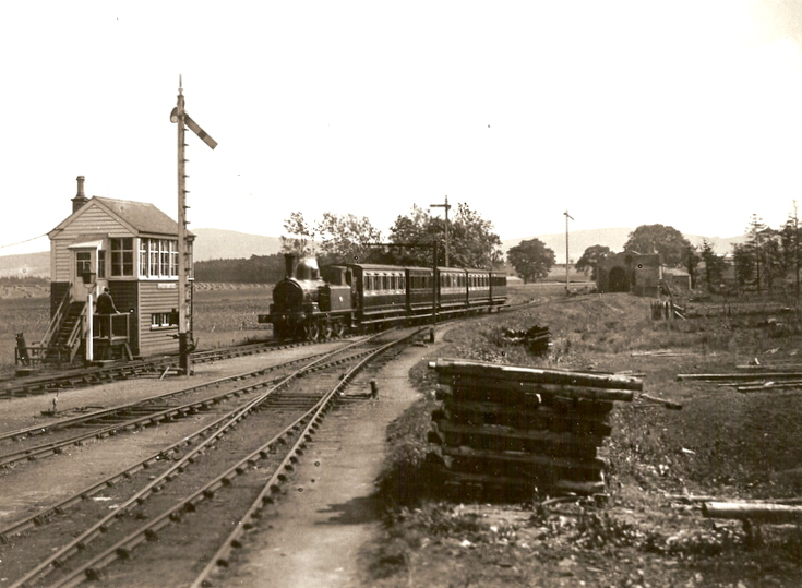 Alford signalbox and Alford bound train.