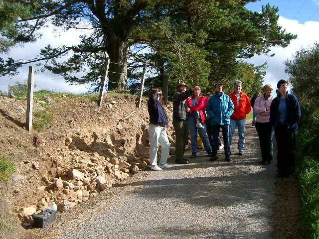 Lumsden locals view the Queenie Brae cairn