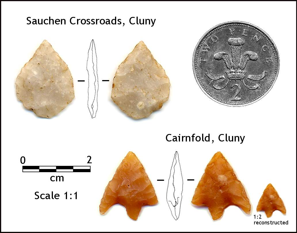 Tanged and Barbed Flint Arrowheads from Cluny