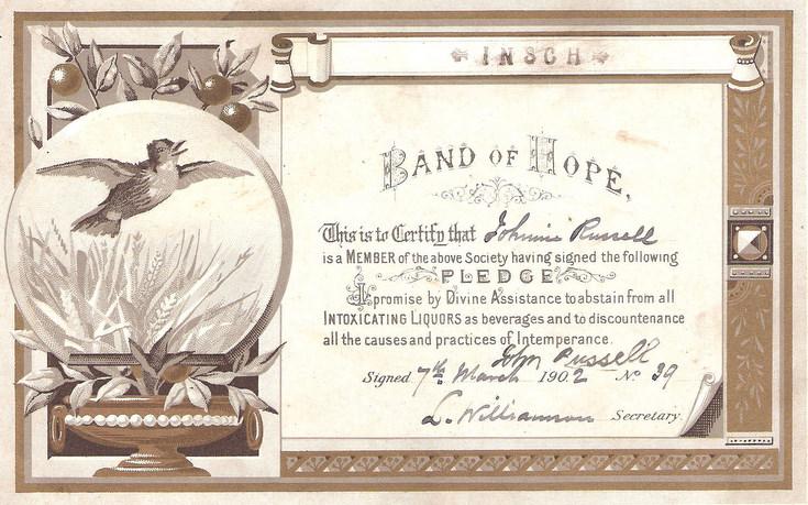 Temperance Certificate from Insch