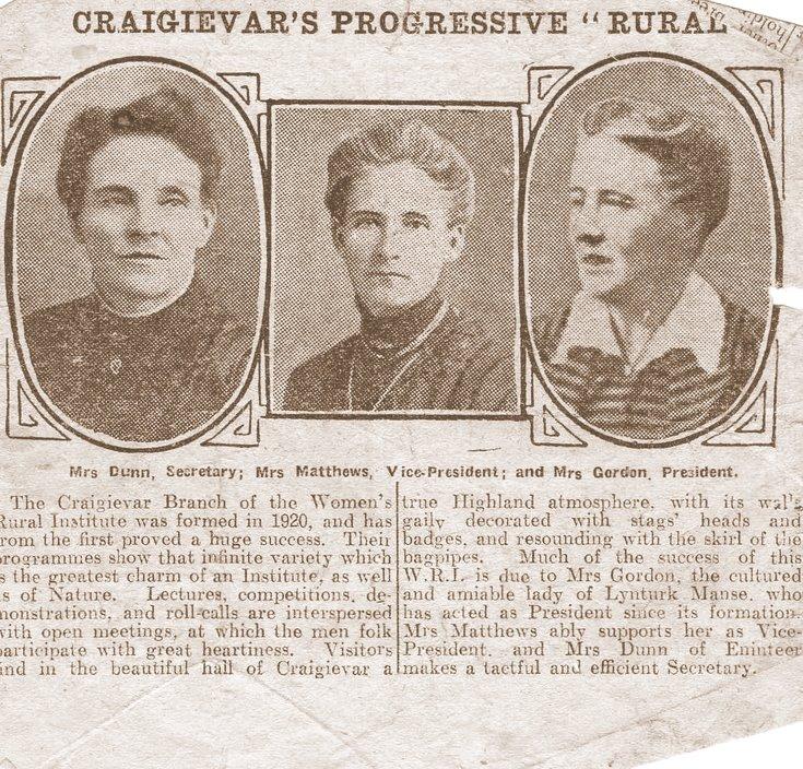 Newspaper article on Craigievar WRI