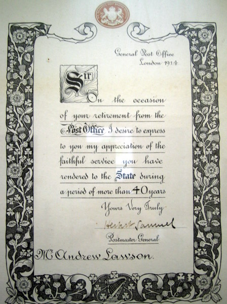 Postie Lawson's Commendation Certificate